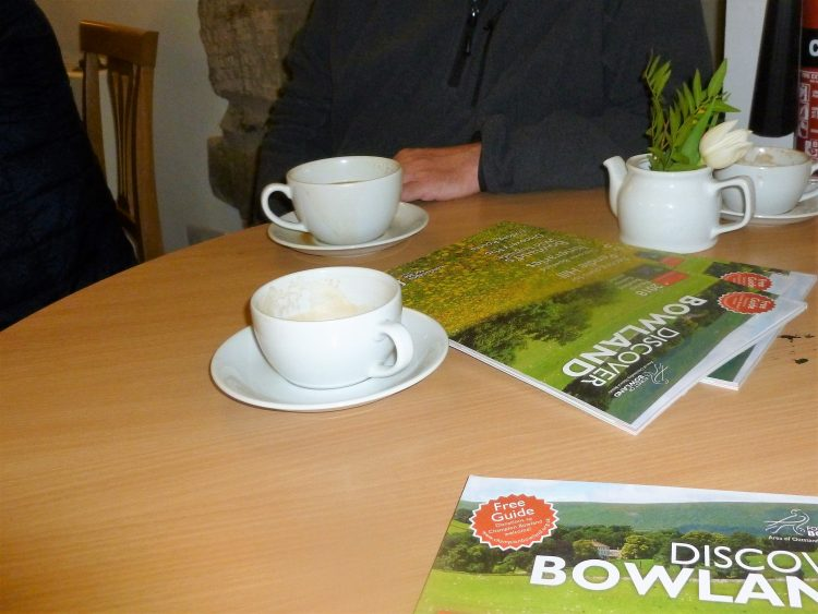 Coffee and chat at Discover Bowland launch at Gisburn Forest Hub Cafe