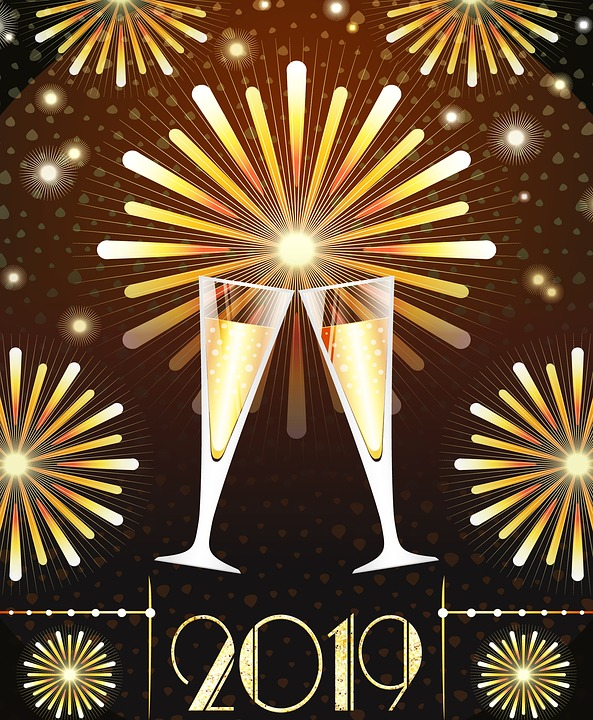 Happy New Year 2019 art deco style champagne glasses